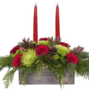 green red and pine cones centerpiece
